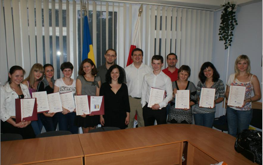 Students of the Ukrainian-Polish Cooperation Center with the certificates of the Ministry Higher Education of Poland is the highest recognition of our work in July 2011